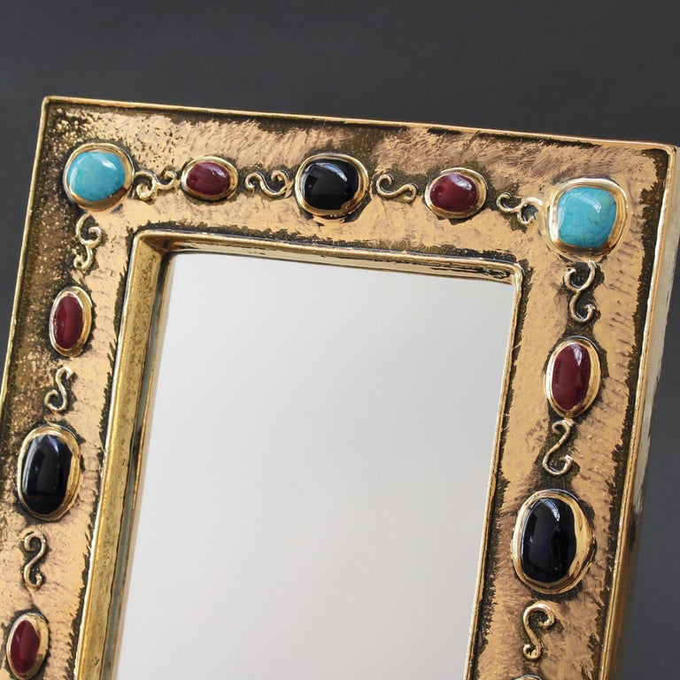 Ceramic Wall Mirror by François Lembo, circa 1960s-1970s For Sale 7
