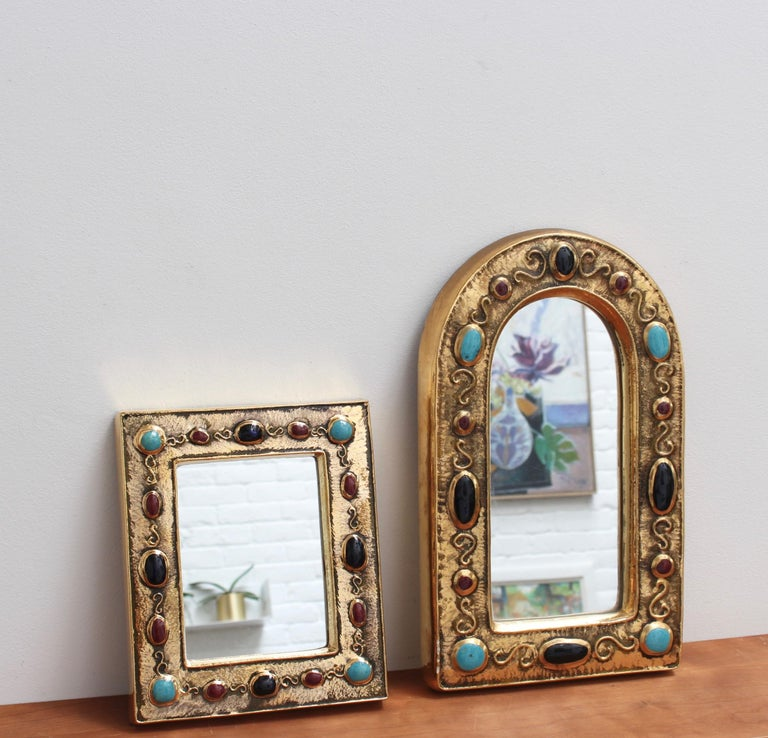 Ceramic Wall Mirror by François Lembo, circa 1960s-1970s For Sale 11