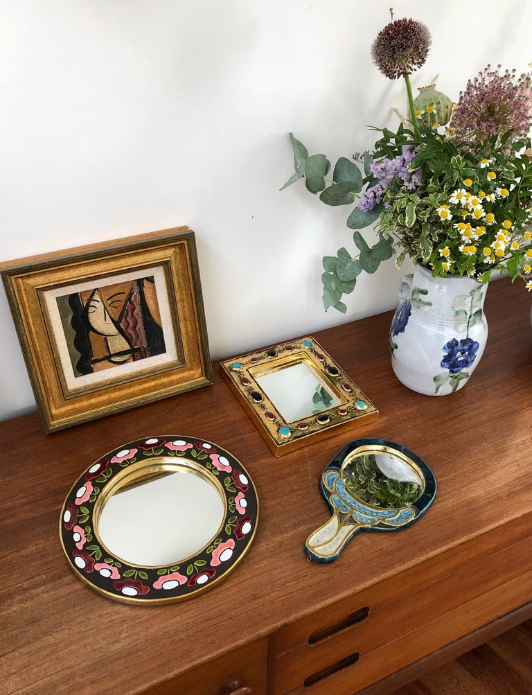 Ceramic Wall Mirror by François Lembo, circa 1960s-1970s For Sale 14