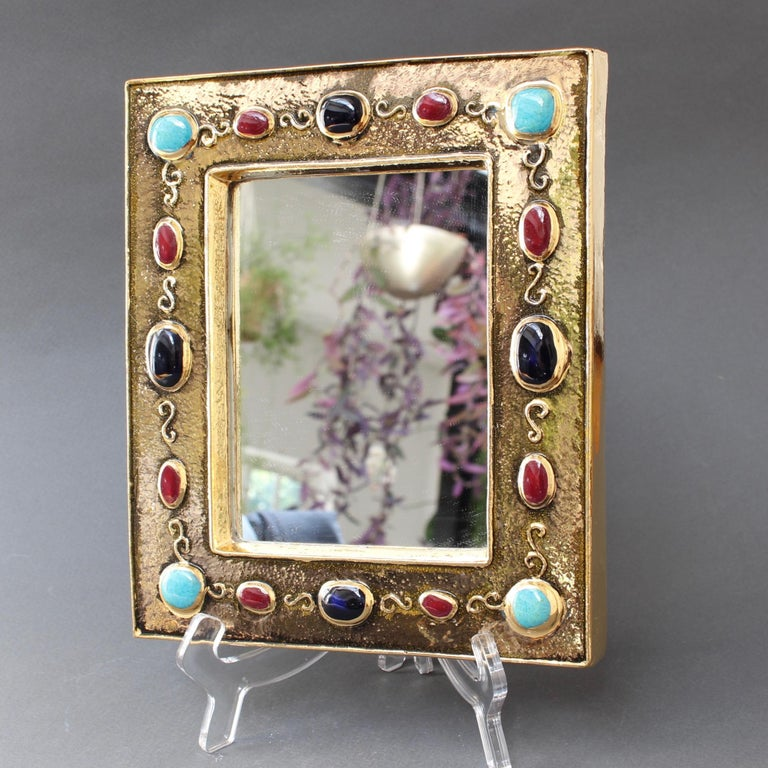 Enameled Ceramic Wall Mirror by François Lembo, circa 1960s-1970s For Sale