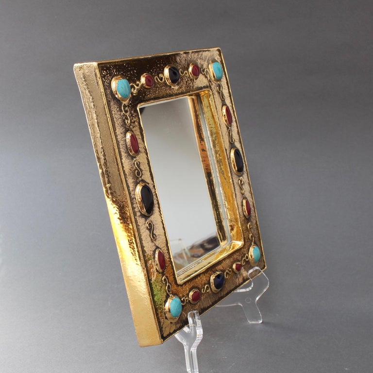 20th Century Ceramic Wall Mirror by François Lembo, circa 1960s-1970s For Sale