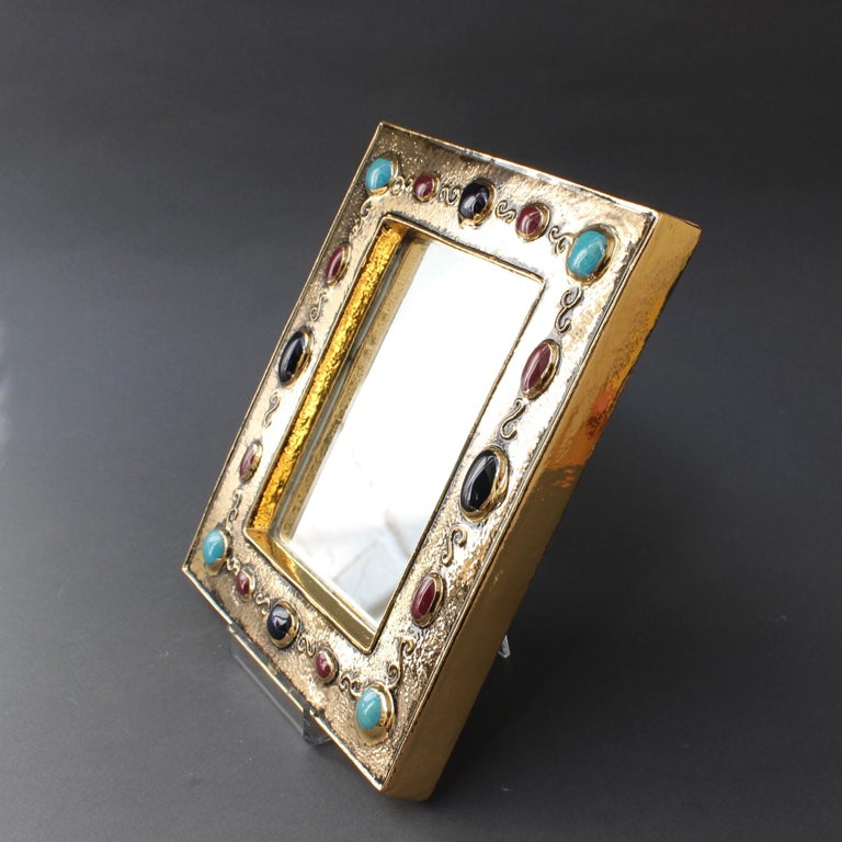 Ceramic Wall Mirror by François Lembo, circa 1960s-1970s For Sale 3
