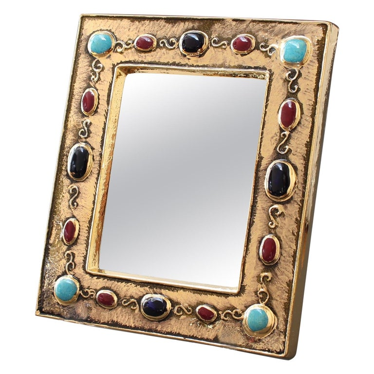 Ceramic Wall Mirror by François Lembo, circa 1960s-1970s For Sale