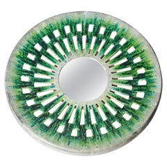 Ceramic Wall Mirror Green and Grey Mid-20th Century Decoration