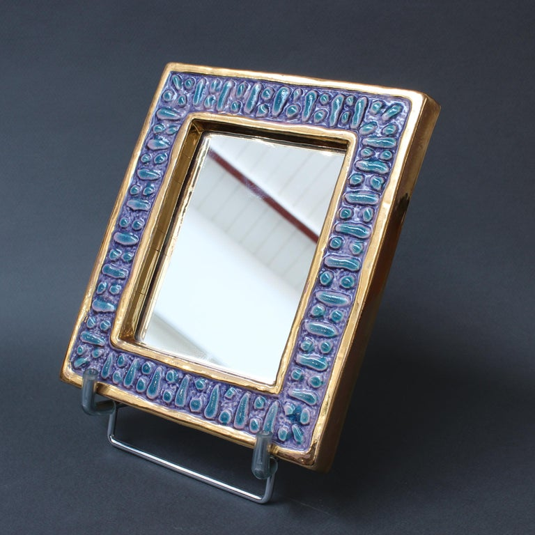 Ceramic Wall Mirror with Enamel Glaze Attributed to François Lembo, circa 1970s For Sale 4