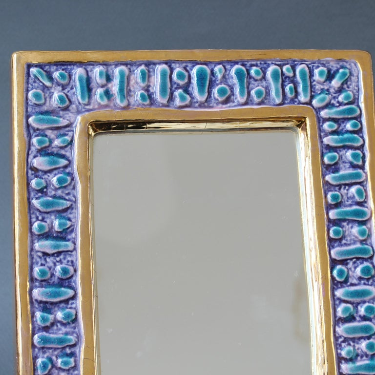 Ceramic Wall Mirror with Enamel Glaze Attributed to François Lembo, circa 1970s For Sale 5