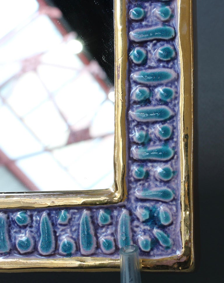 Ceramic Wall Mirror with Enamel Glaze Attributed to François Lembo, circa 1970s For Sale 6