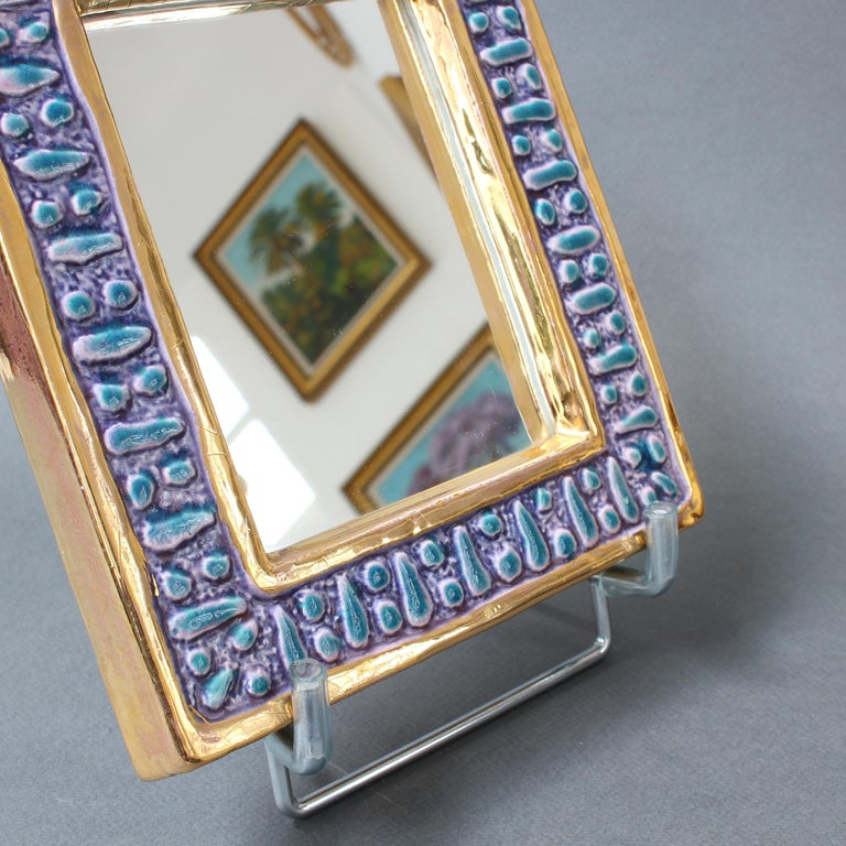 Ceramic Wall Mirror with Enamel Glaze Attributed to François Lembo, circa 1970s For Sale 7
