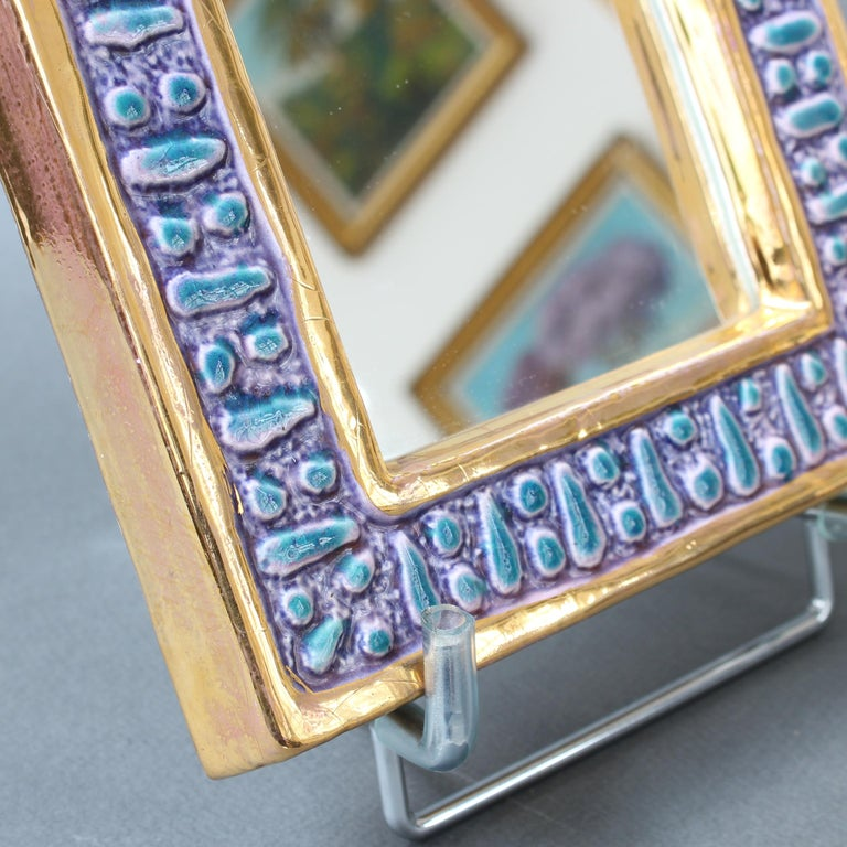 Ceramic Wall Mirror with Enamel Glaze Attributed to François Lembo, circa 1970s For Sale 8