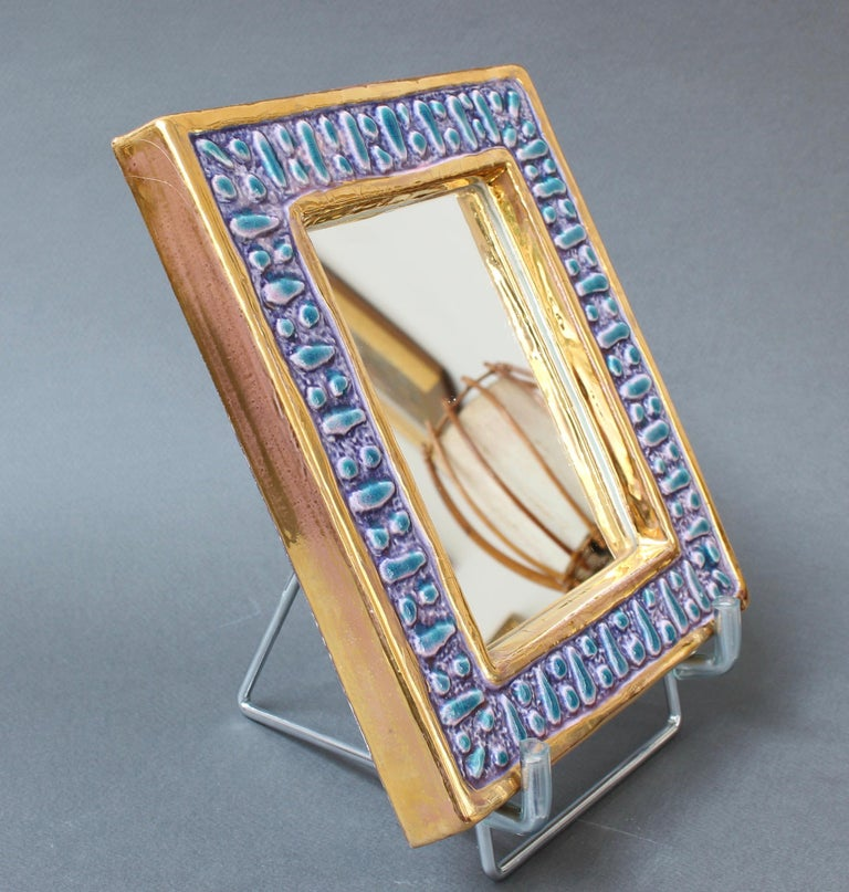Ceramic Wall Mirror with Enamel Glaze Attributed to François Lembo, circa 1970s For Sale 10