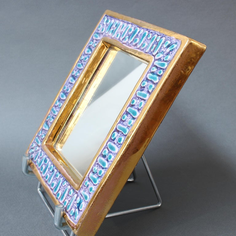 Ceramic Wall Mirror with Enamel Glaze Attributed to François Lembo, circa 1970s For Sale 11