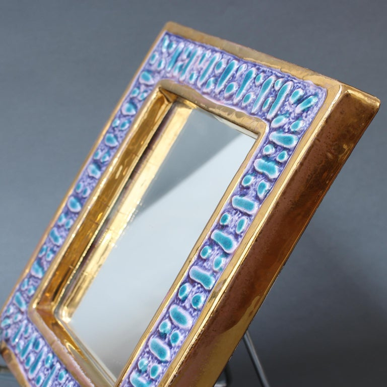 Ceramic Wall Mirror with Enamel Glaze Attributed to François Lembo, circa 1970s For Sale 12