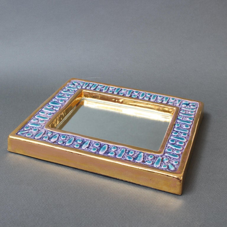 Ceramic Wall Mirror with Enamel Glaze Attributed to François Lembo, circa 1970s For Sale 14