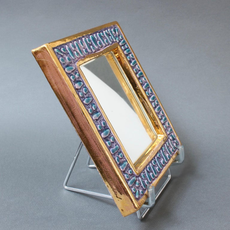 Enameled Ceramic Wall Mirror with Enamel Glaze Attributed to François Lembo, circa 1970s For Sale