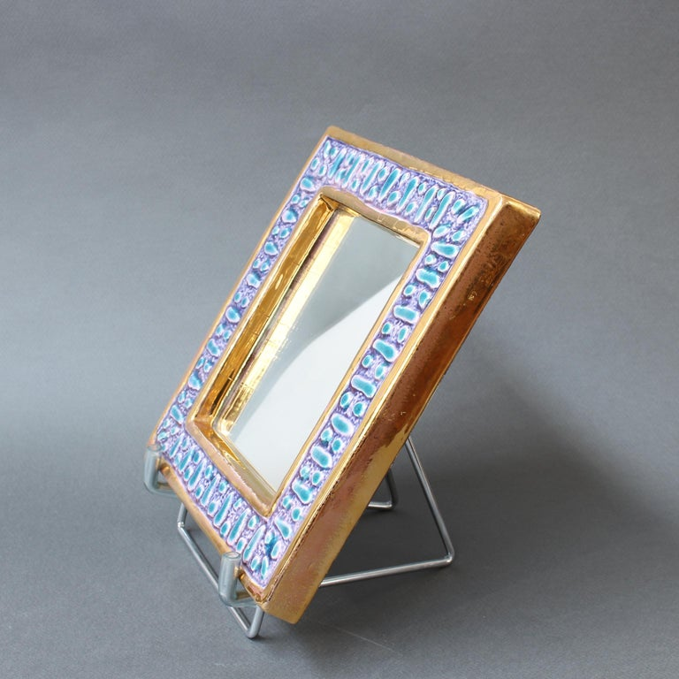 Ceramic Wall Mirror with Enamel Glaze Attributed to François Lembo, circa 1970s For Sale 2