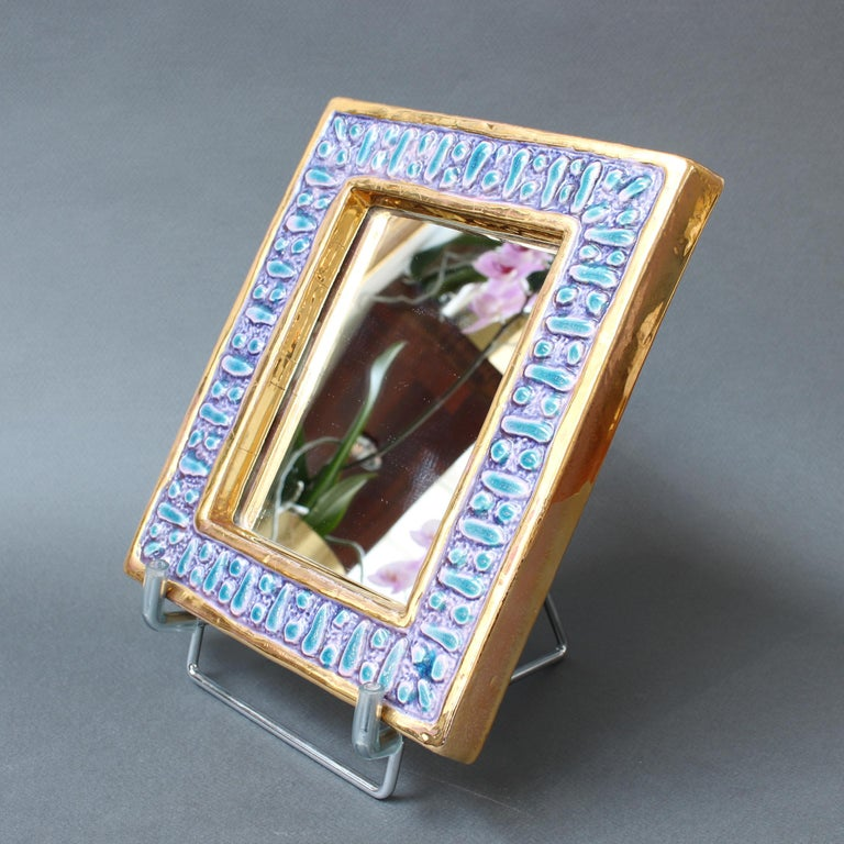 Ceramic Wall Mirror with Enamel Glaze Attributed to François Lembo, circa 1970s For Sale 3
