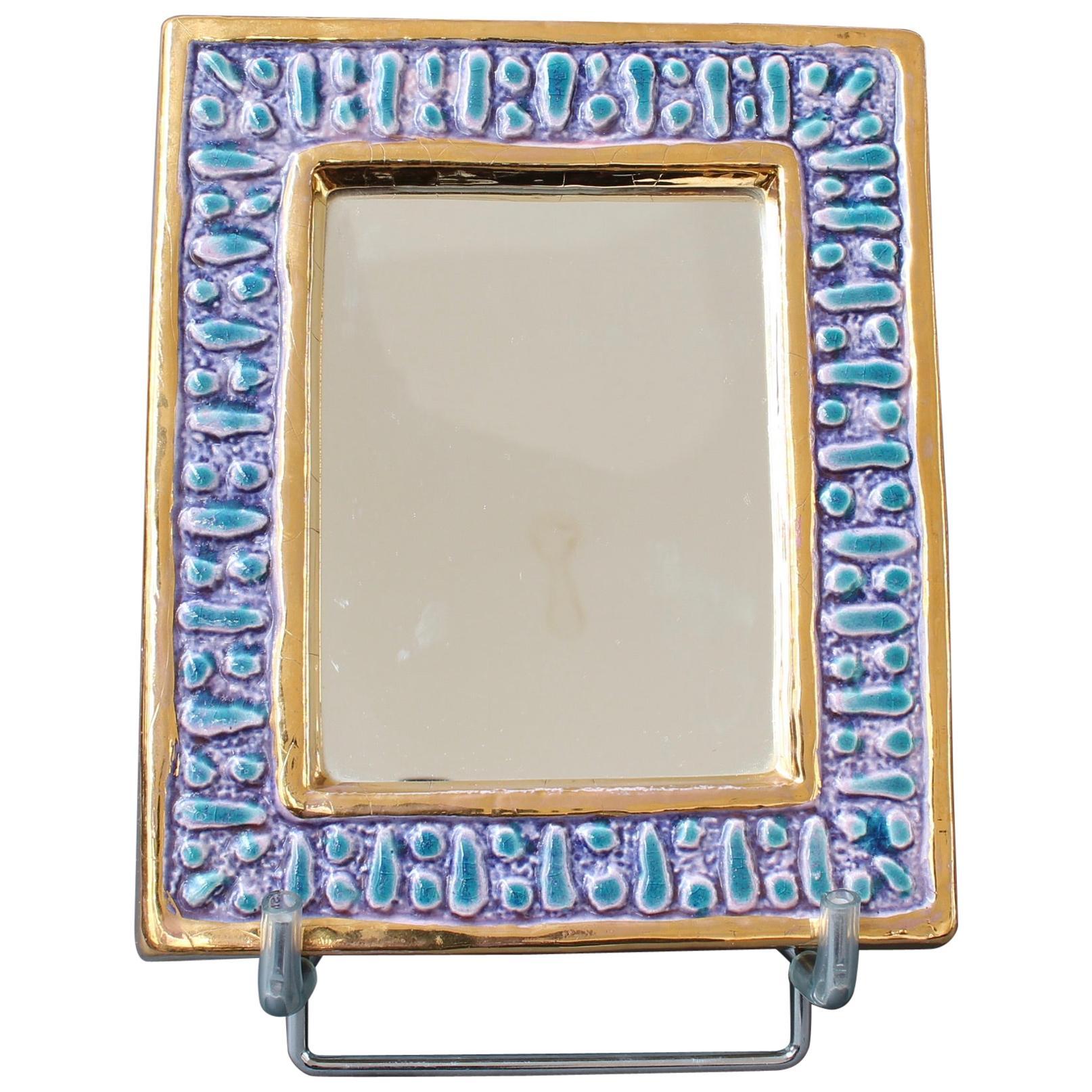 Ceramic Wall Mirror with Enamel Glaze Attributed to François Lembo, circa 1970s
