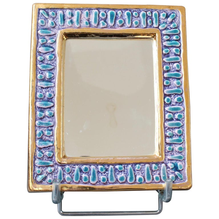 Ceramic Wall Mirror with Enamel Glaze Attributed to François Lembo, circa 1970s For Sale