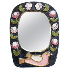 Ceramic Wall Mirror with Flower Motif and Stylised Bird by François Lembo, 1970s