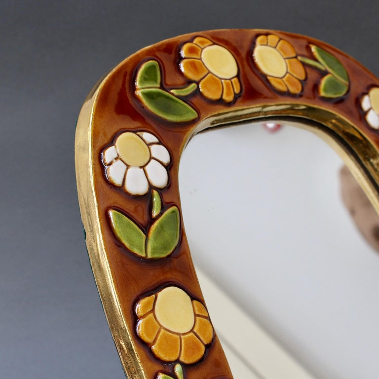 Ceramic Wall Mirror with Flower Motif and Stylised Bird by Mithé Espelt, c. 1960 For Sale 5