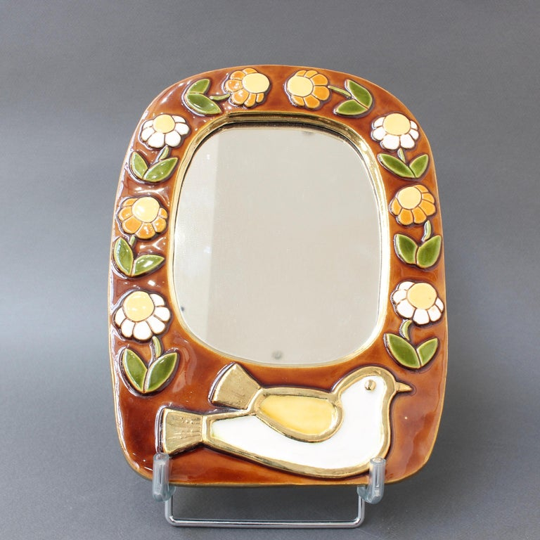 Ceramic Wall Mirror with Flower Motif and Stylised Bird by Mithé Espelt, c. 1960 For Sale 9