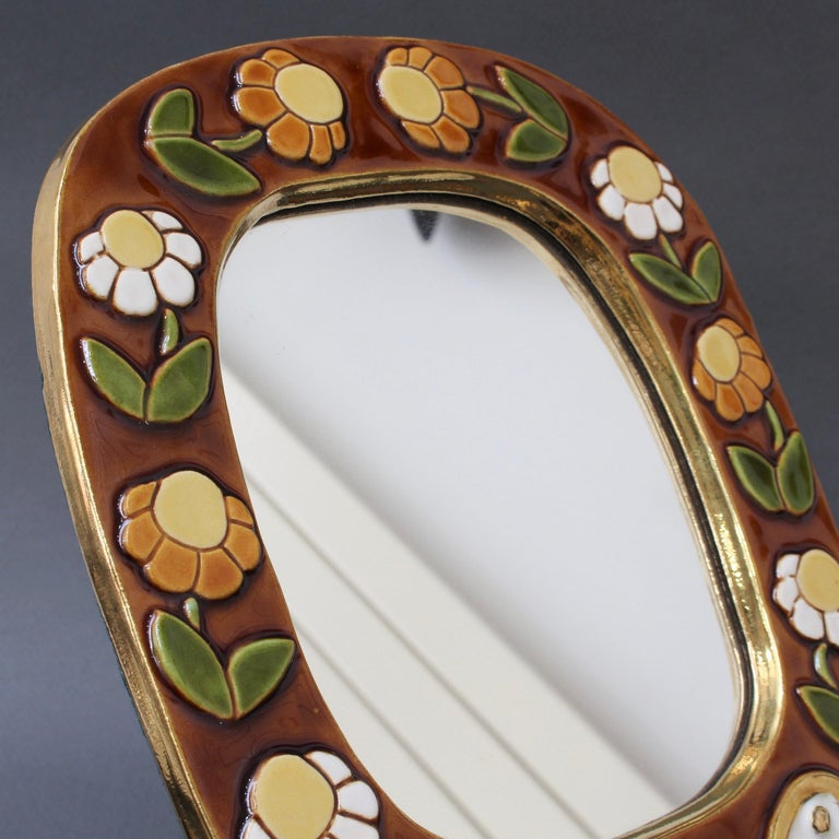 Ceramic Wall Mirror with Flower Motif and Stylised Bird by Mithé Espelt, c. 1960 For Sale 4