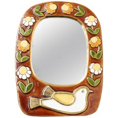 Ceramic Wall Mirror with Flower Motif and Stylised Bird by Mithé Espelt, c. 1960