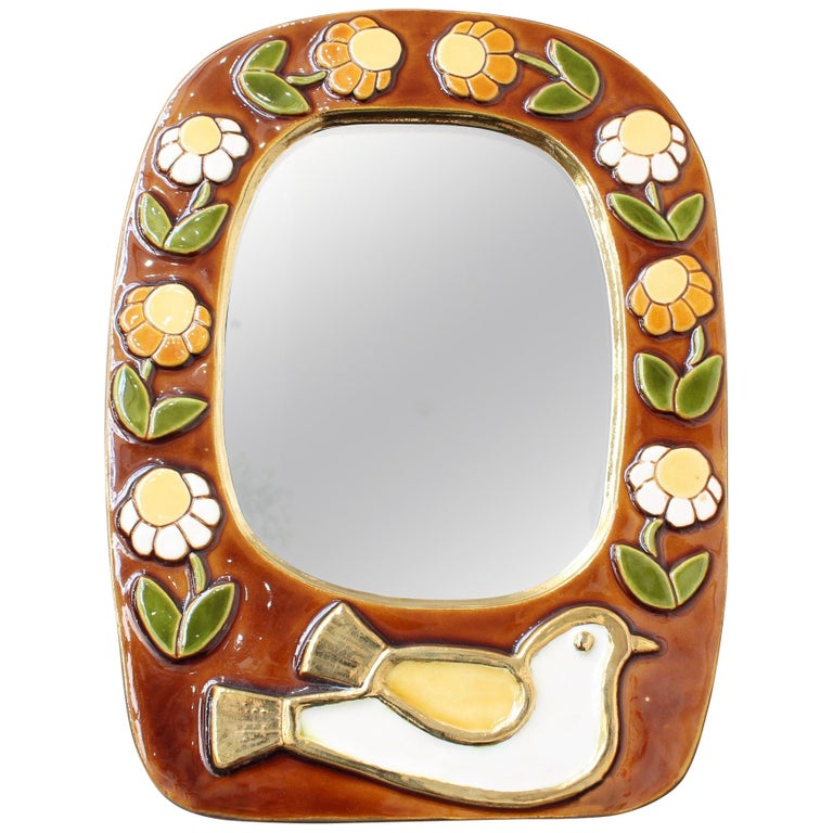 Ceramic Wall Mirror with Flower Motif and Stylised Bird by Mithé Espelt, c. 1960 For Sale