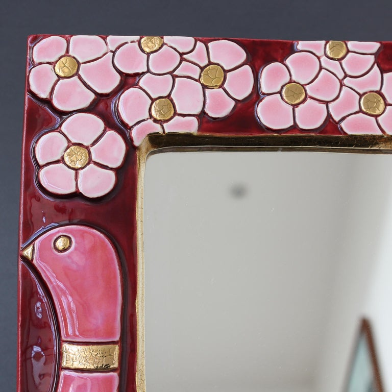 Ceramic Wall Mirror with Flower Motif and Stylised Birds by Mithé Espelt c.1960s For Sale 5