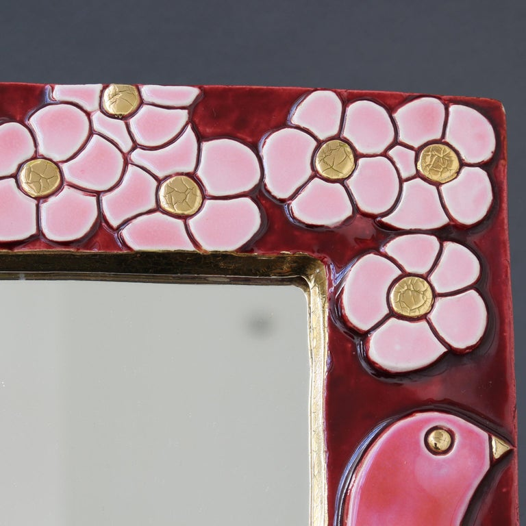 Ceramic Wall Mirror with Flower Motif and Stylised Birds by Mithé Espelt c.1960s For Sale 11
