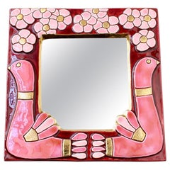 Ceramic Wall Mirror with Flower Motif and Stylised Birds by Mithé Espelt c.1960s