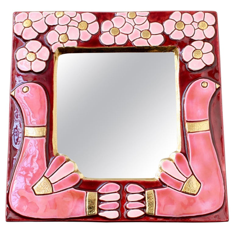 Ceramic Wall Mirror with Flower Motif and Stylised Birds by Mithé Espelt c.1960s For Sale