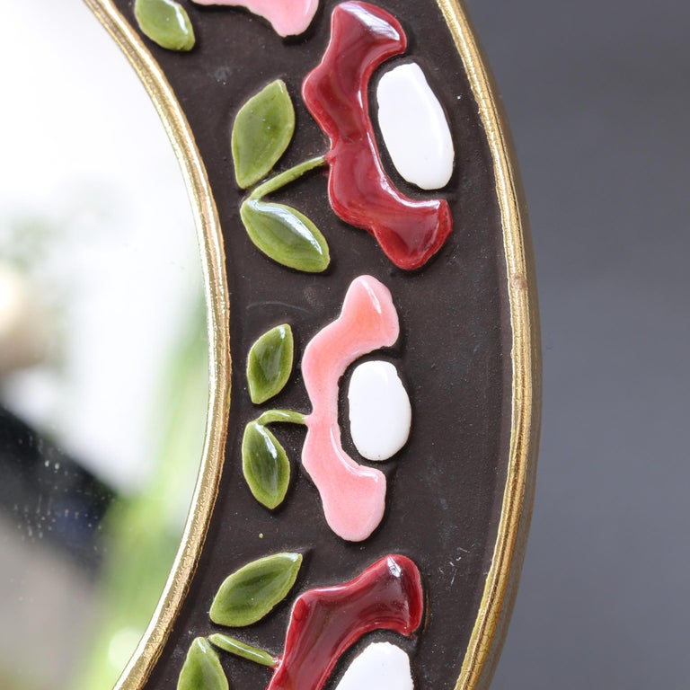 Ceramic Wall Mirror with Flower Motif by Mithé Espelt, circa 1960s For Sale 3