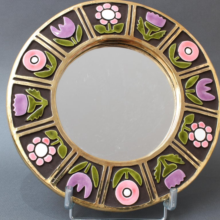 Ceramic Wall Mirror with Flower Motif by François Lembo, circa 1960s For Sale 4