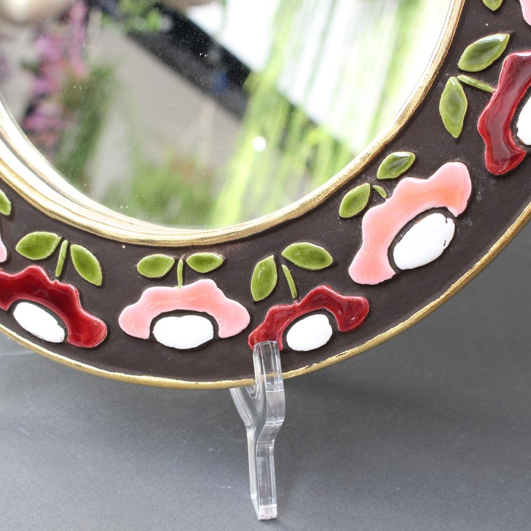 Ceramic Wall Mirror with Flower Motif by Mithé Espelt, circa 1960s For Sale 4