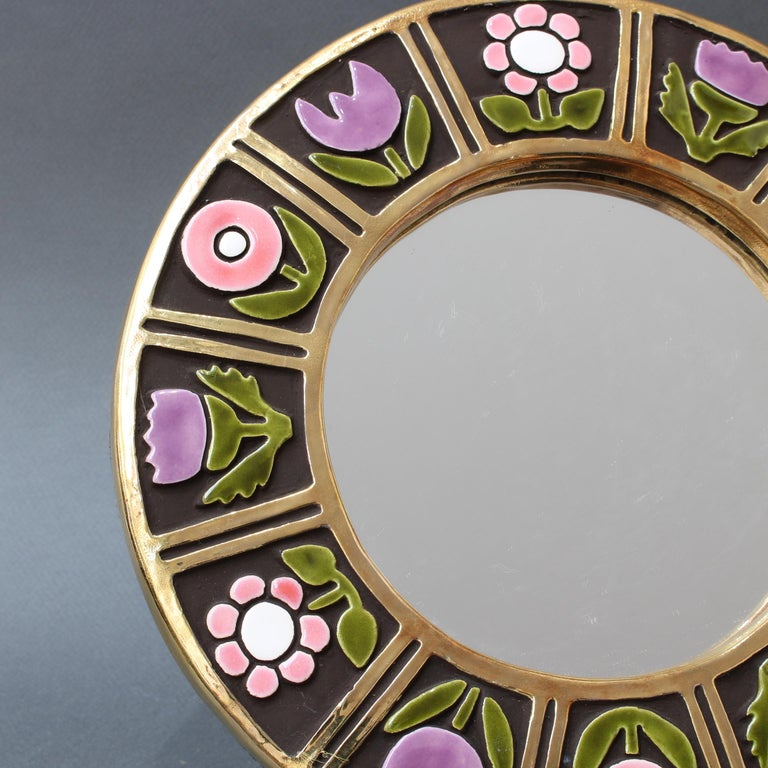 Ceramic Wall Mirror with Flower Motif by François Lembo, circa 1960s For Sale 5