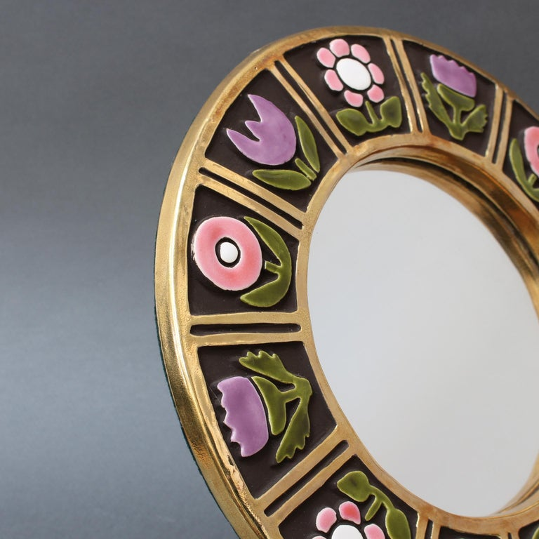 Ceramic Wall Mirror with Flower Motif by François Lembo, circa 1960s For Sale 6