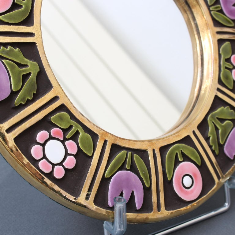 Ceramic Wall Mirror with Flower Motif by François Lembo, circa 1960s For Sale 7