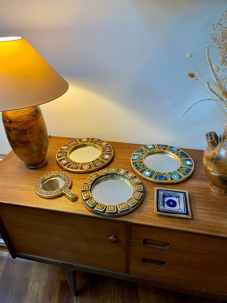 Ceramic Wall Mirror with Flower Motif by François Lembo, circa 1960s For Sale 9