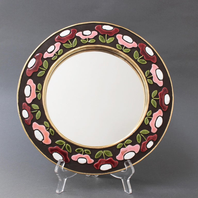 Mid-Century Modern Ceramic Wall Mirror with Flower Motif by Mithé Espelt, circa 1960s For Sale
