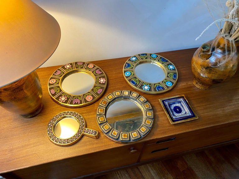 Mid-Century Modern Ceramic Wall Mirror with Flower Motif by François Lembo, circa 1960s For Sale