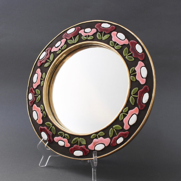 French Ceramic Wall Mirror with Flower Motif by Mithé Espelt, circa 1960s For Sale