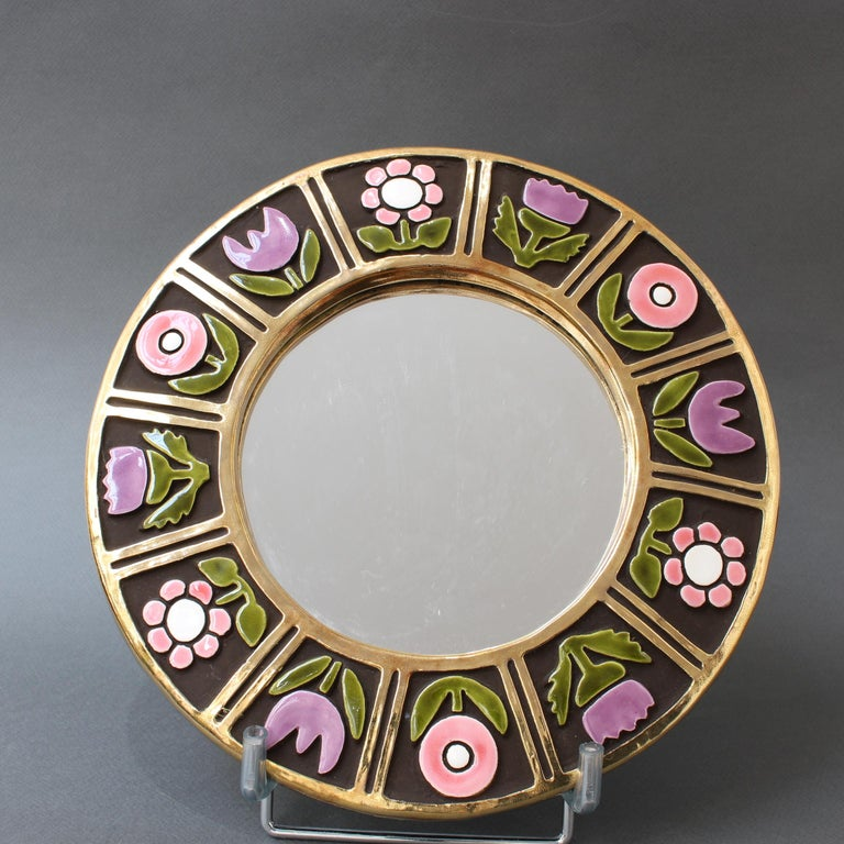 French Ceramic Wall Mirror with Flower Motif by François Lembo, circa 1960s For Sale