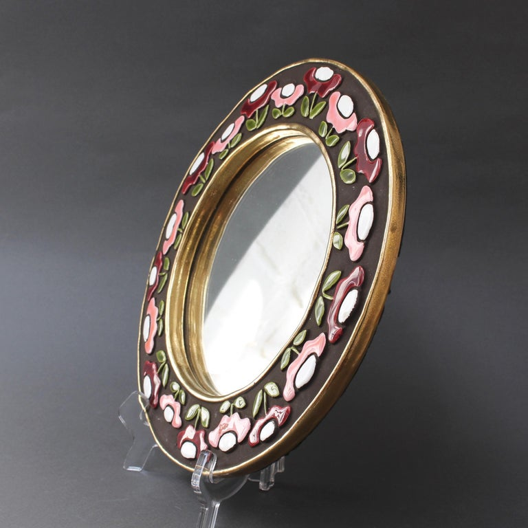 Enameled Ceramic Wall Mirror with Flower Motif by Mithé Espelt, circa 1960s For Sale