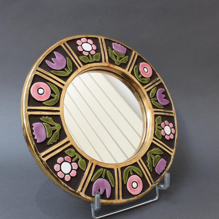 Ceramic Wall Mirror with Flower Motif by François Lembo, circa 1960s In Good Condition For Sale In London, GB