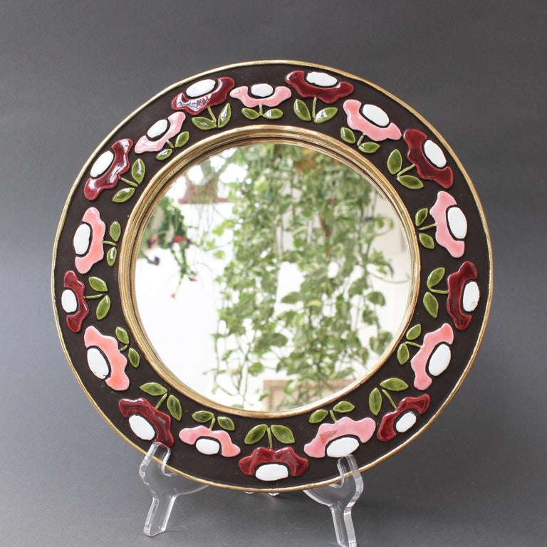 Ceramic Wall Mirror with Flower Motif by Mithé Espelt, circa 1960s In Good Condition For Sale In London, GB