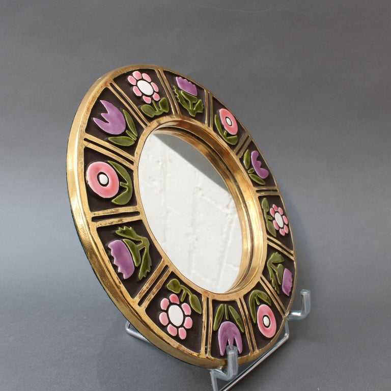 Mid-20th Century Ceramic Wall Mirror with Flower Motif by François Lembo, circa 1960s For Sale