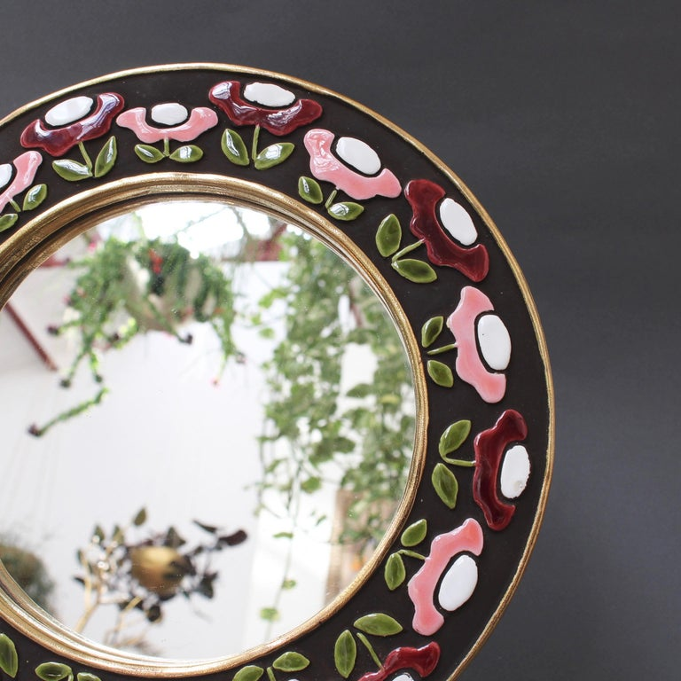 Mid-20th Century Ceramic Wall Mirror with Flower Motif by Mithé Espelt, circa 1960s For Sale