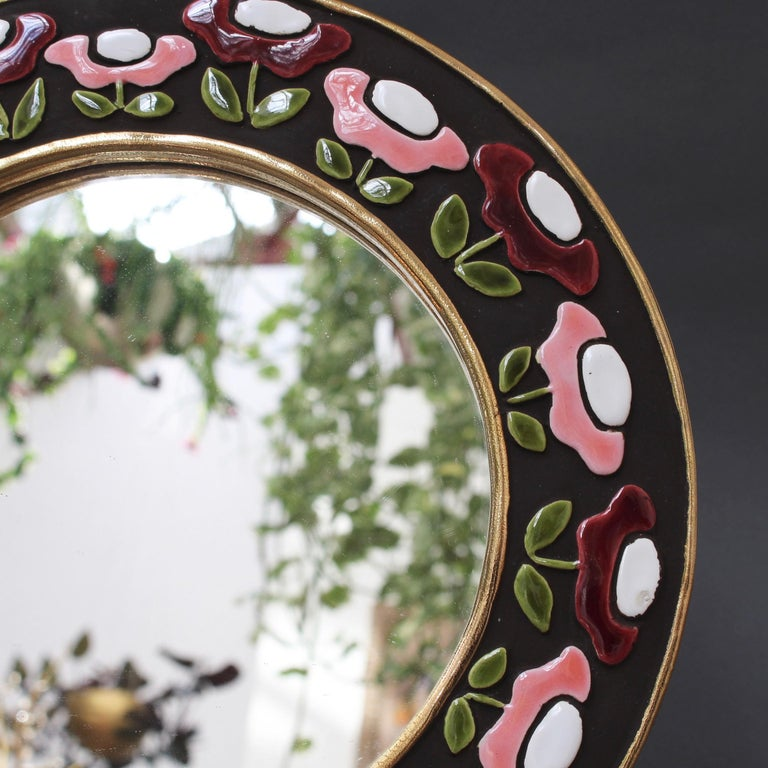 Ceramic Wall Mirror with Flower Motif by Mithé Espelt, circa 1960s For Sale 1