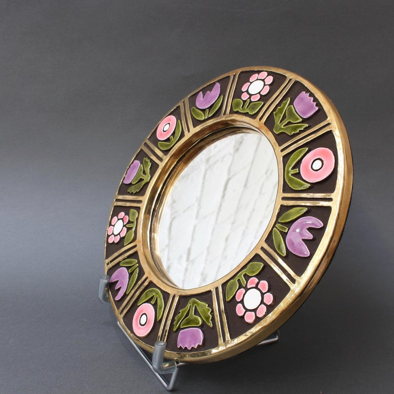 Ceramic Wall Mirror with Flower Motif by François Lembo, circa 1960s For Sale 2